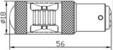 BAY15D-1157-30W 6st CREE-XBD LED met lens (Dagrijverlichting / breedstraler)_