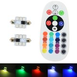 2x C5W Festoon 36MM 6 leds RGB 5050SMD LED incl, remote controll_