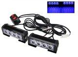 2x 6W highpower flash signalering LED module units Blauw 12v incl remote_