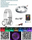 4x RGB LED 15 inch wiel ringen incl bluetooth bediening_
