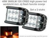 45W 3600LM 12X CREE high power led werklicht incl zij flash functie oranje Per 2st._