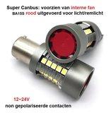 BA15S P21W super Canbus rood 30x3030SMD intern fan