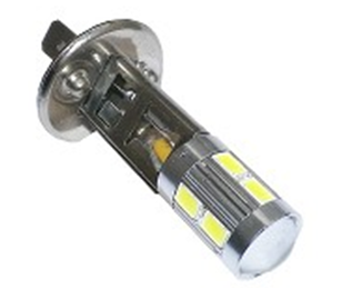 H1 10 5630 smd LED met lens 9-30V (Dagrijverlichting / breedstraler)