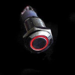 12V LED druk schakelaar 16mm angle eye rood