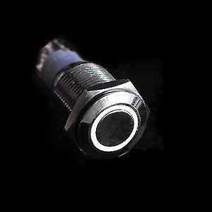 12V LED druk schakelaar 16mm angel eye wit