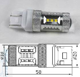 * Duplo:T20/S25 7443 15W SAMSUNG Chip W21/5W (new model)(Dagrijverlichting / breedstraler)