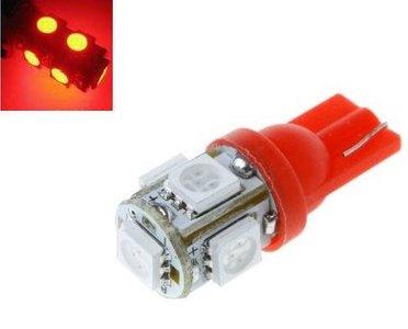 T10 W5W led 5x 5050 SMD LED Rood