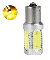 BA15S 7,5W COB high power led  geel/amber