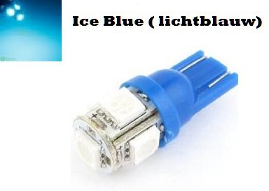 6V T10 W5W led 5x 5050 SMD LED ice blue (licht blauw)