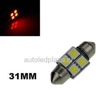 Festoon 4 smd 5050 LED 31mm rood