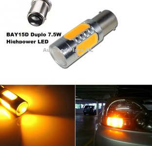 duplo: BAY15D 1157 7,5W COB highpower geel amber