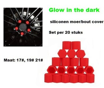 17# Wielmoer of bout siliconen cover Rood in ''Glow in the dark'' uitvoering