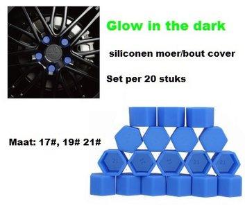 21# Wielmoer of bout siliconen cover Blauw in ''Glow in the dark'' uitvoering