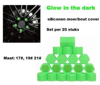 21# Wielmoer of bout siliconen cover Groen in ''Glow in the dark'' uitvoering