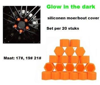 17# Wielmoer of bout siliconen cover Oranje in ''Glow in the dark'' uitvoering