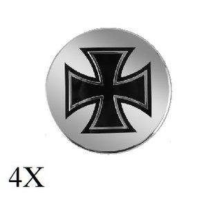 Keltisch kruis zwart chrome naafdop embleem set
