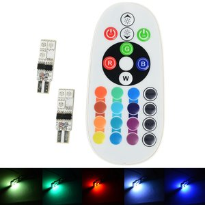 2x T10 W5W 6 leds RGB 5050SMD LED incl, remote controll