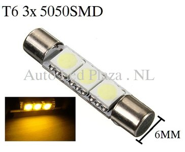 T6 31MM LED buislamp Geel amber