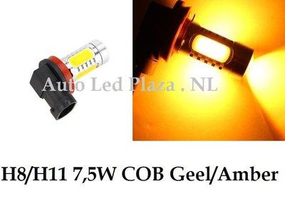 H8/H11 7,5W COB geel/amber met lens