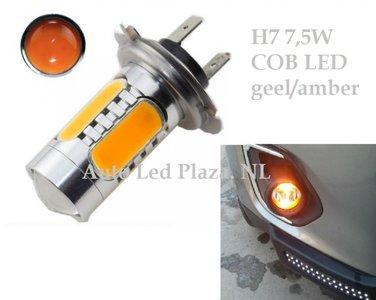 H7 High power 7.5W COB 3000k 500LM Geel/Amber (Dagrijverlichting / breedstraler)