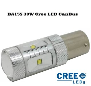 BA15S 30W Cree XBD-R2 Canbus LET OP: ROOD