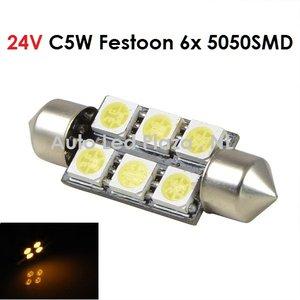 24V C5W Festoon 41MM 6x 5050SMD LED Geel/Amber