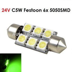 24V C5W Festoon 41MM 6x 5050SMD LED Groen