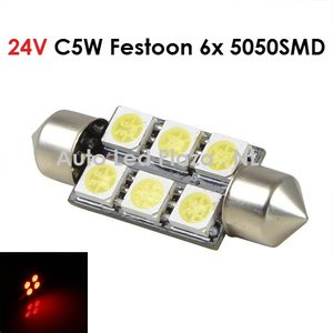24V C5W Festoon 36MM 6x 5050SMD LED Rood