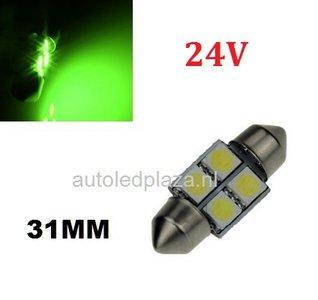 24V C5W Festoon 31MM 4x 5050SMD LED Groen
