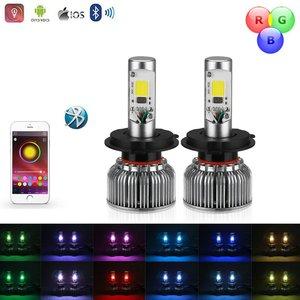 H4 LED dimlicht + RGB Demon eyes incl Bluetooth bediening