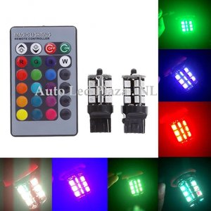 2x T20 7440 27 leds RGB 5050SMD LED incl, remote controll