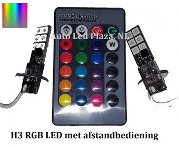 2x H3 12 leds RGB 5050SMD LED incl, remote controll