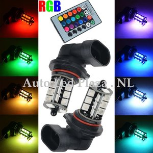 2x HB3 9005 27 leds RGB 5050SMD LED incl, remote controll