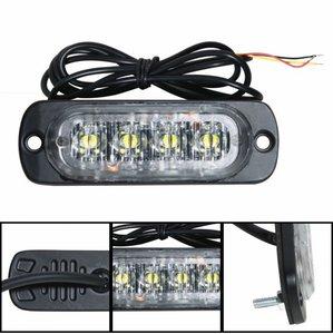4x 3W highpower flash signalering module oranje 12v/24v slimline model