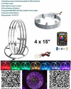 4x RGB LED 15 inch wiel ringen incl bluetooth bediening