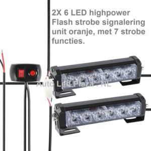 2x 6 LED highpower flash strobe signalering unit oranje, met 7 strobe functie