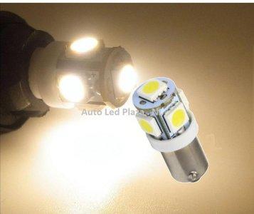 BA9S 5x 5050smd LED Warm wit 4300K 80Lumen