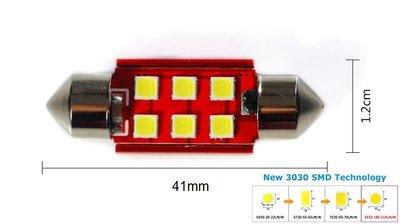 C5W/C10W buislamp 41mm 6x 3030SMD LED Canbus Wit 10V~24V