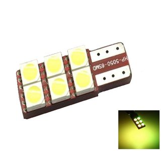 T10 W5W 6x 5050SMD LED geel/amber, 1 zijdig non-polarized