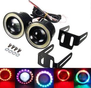 COB mistlampen set met RGB Dream multicolor LED Ring incl. knipperlicht functie 02